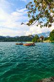 Boats at Lake Bled, Slovenia. — Stock Photo