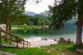 Lake Bohinj, located in the Bohinj Valley of the Julian Alps — Stock Photo