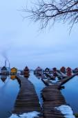 Sunset lake Bokod with pier — Photo
