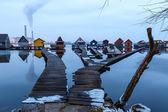 Sunset lake Bokod with pier — Stock Photo