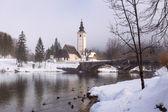 Winter on the lake Bohinj — Stock Photo
