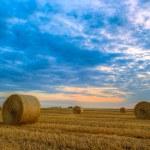 zonsondergang over boerderij veld met hooibalen — Stockfoto #68415291