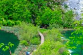 Wooden path in National Park in Plitvice — Zdjęcie stockowe