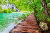 Caminho de madeira no Parque Nacional Plitvice — Fotografia Stock