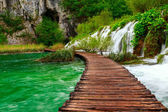 Wooden path in National Park in Plitvice — Stock Photo