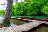 Boats in the national park Plitvice, Croatia — Stock Photo