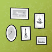 Hanging Frames with Pictures — Stock Vector