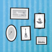 Hanging Frames with Pictures — Vettoriale Stock