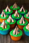 Teepee cupcakes — Stock Photo