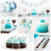 Dessert table collage — Stock Photo