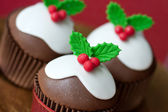 Christmas pudding cupcakes — 图库照片