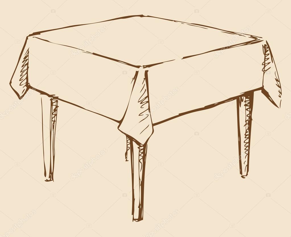 Dessin vectoriel table carr e avec nappe image for Table design sketch