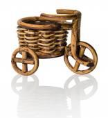 Vinewoven souvenir. Tricycle with basket — Zdjęcie stockowe