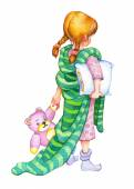 Watercolor illustration. Girl go to bed — Stock Photo