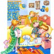 Постер, плакат: Watercolor illustration Children woke up and wake up parents