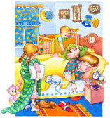 Watercolor illustration. Children woke up and wake up parents — Stock Photo
