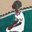 Stylized drawing. Negress sitting on her knees in white dress — Stock Photo #54630787