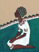 Stylized drawing. Negress sitting on her knees in white dress — Stock Photo