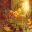 Watercolor still life. Burning candle lights fruits and golden p — Stock Photo #54812149