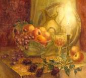 Watercolor still life. Burning candle lights fruits and golden p — Stock Photo