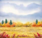 "Watercolor landscape of series of ""Steppe in different seasons"" — Stock Photo"