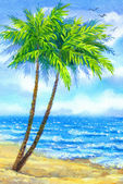 Watercolor landscape. Tall palms on a sandy beach — Stock Photo