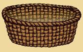 Vector monochrome picture. Empty wicker basket — Stock Vector
