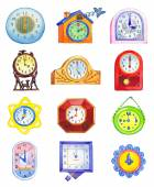 Different clocks isolated on white backdrop — Stock fotografie