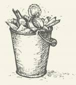Vector trash bin full of garbage — Stock Vector