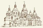 Vector Saint Sophia Cathedral in Kiev, Ukraine — Stock vektor