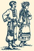Young couple in Ukrainian national dress. Vector sketch — Stock Vector