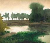 Aquarel landschap. bomen op de oever van rustige meer — Stockfoto