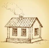 Cozy little house. Vector sketch — Stock Vector