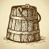 Old wooden bucket. Vector sketch — Stock Vector