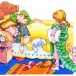 Постер, плакат: Watercolor illustration Children wake up parents