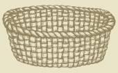 Vector picture. Empty wicker basket — Stock Vector