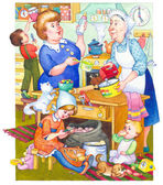 Watercolor illustration. Family in kitchen preparing meal — Stock Photo
