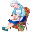 Watercolor illustration. Grandma fell asleep reading — Stock Photo #65768865