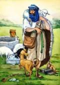 "Watercolor sketch of series ""Characters of Palestine"". Shepherd — Stock Photo"