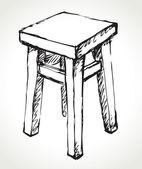 Wooden kitchen stool. Vector sketch — Stock Vector