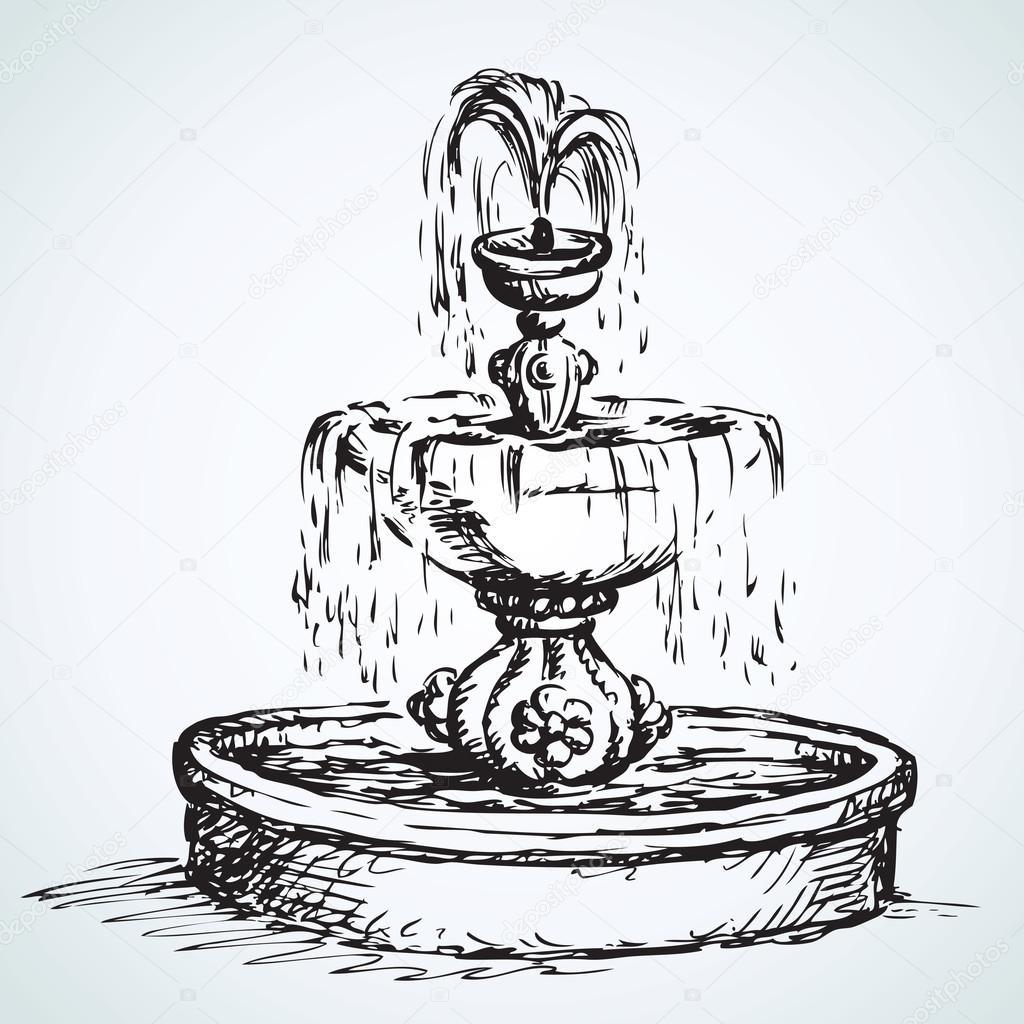 Нарисовать фонтан поэтапно