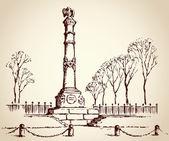 Monument of Glory in Poltava, Ukraine. Vector sketch — Stock Vector