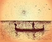 Gondolier floats on gondola. Vector sketch — Stock Vector