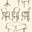 Different Сhairs and tables. Vector sketch — Vector de stock  #69315981