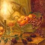Gouache still life. Burning candle illuminates fruits and golden — Stock Photo #69592331