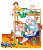 Watercolor illustration. Children in bedroom — Foto Stock