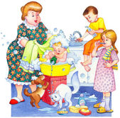 Watercolor illustration. Family washes in bathroom — Stock Photo