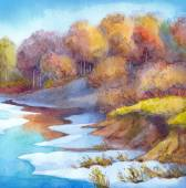 Stream in forest valley winter day. Watercolour landscape — Stock Photo