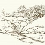 Mountain stream. Vector drawing — Stock Vector #74843873