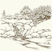 Mountain stream. Vector drawing — Stock Vector